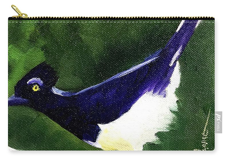 Plush Crested Jay Carry-all Pouch featuring the painting Plush Crested Jay by Sandhya Manne