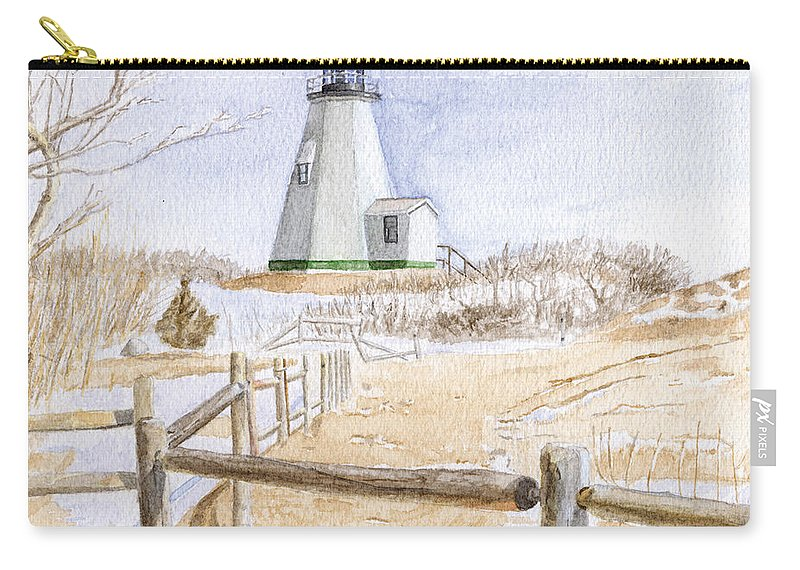 Lighthosue Carry-all Pouch featuring the painting Plymouth Light In Winter by Dominic White