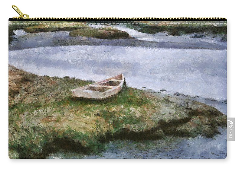 Boat Lake Water Painting Ocean Marsh Fishing Nature Pond Carry-all Pouch featuring the painting Pnrf0503 by Henry Butz