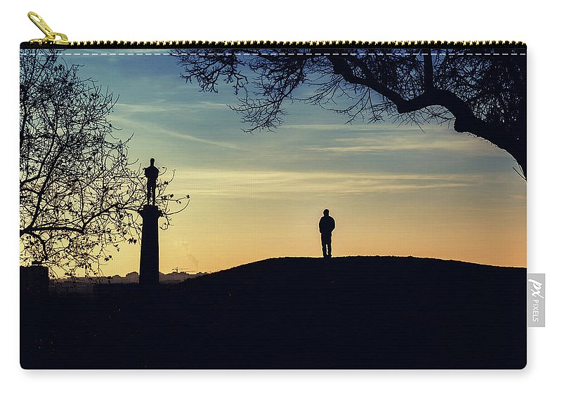 Kalemegdan Carry-all Pouch featuring the photograph Pobednik Statue by Stelios Kleanthous