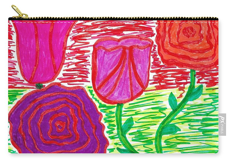 Doodle Art Carry-all Pouch featuring the drawing Pocket Full Of Posies by Susan Schanerman
