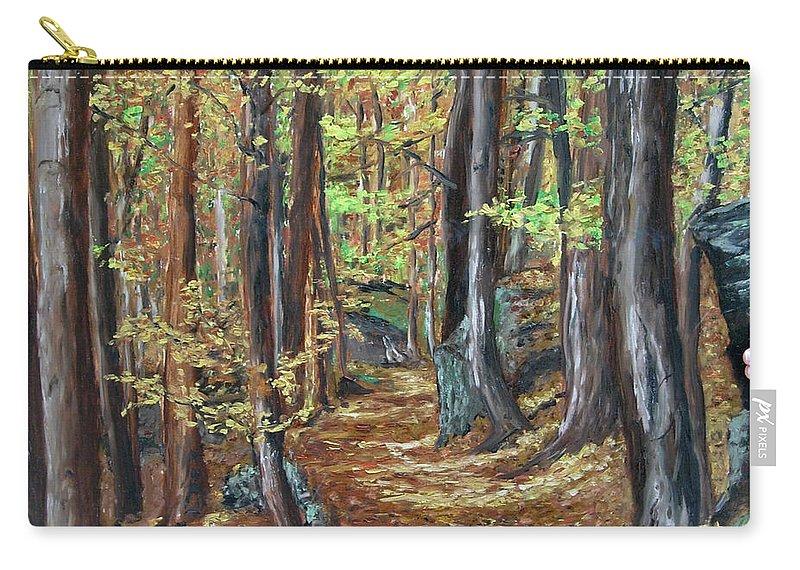 Landscape Carry-all Pouch featuring the painting Podzim V Lese Po Pesine Behaj Bezci by Pablo de Choros