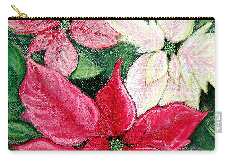 Poinsettia Carry-all Pouch featuring the pastel Poinsettia Pastel by Nancy Mueller