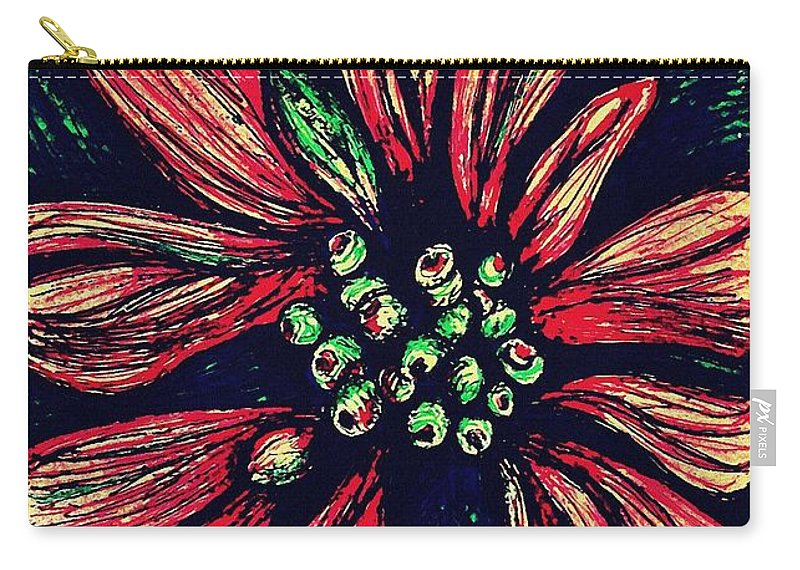 Poinsettia Carry-all Pouch featuring the drawing Poinsettia by Sarah Loft