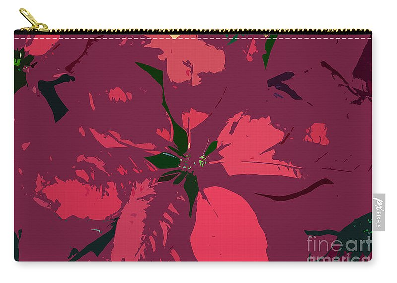 Poinsettias Carry-all Pouch featuring the photograph Poinsettias Work Number 4 by David Lee Thompson