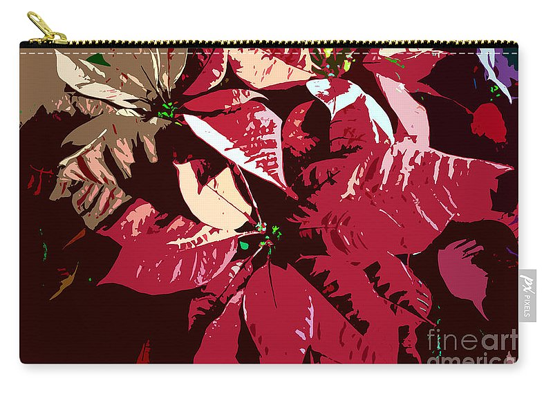Poinsettias Carry-all Pouch featuring the photograph Poinsettia's Work Number 7 by David Lee Thompson