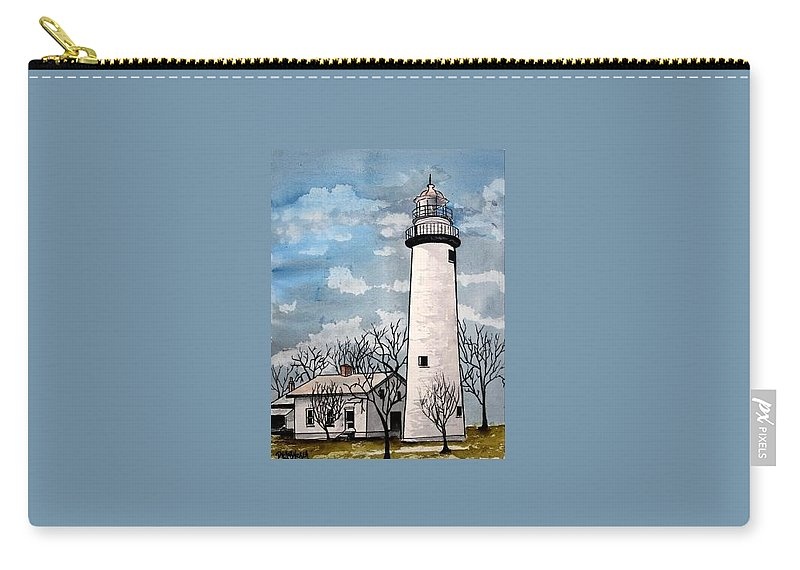 Lighthouse Painting Carry-all Pouch featuring the painting Point Aux Barques Lighthouse by Derek Mccrea