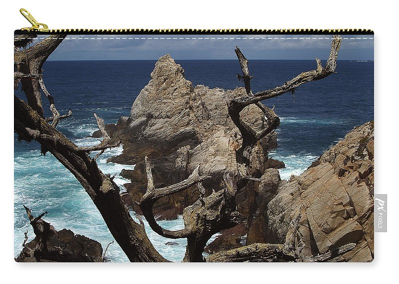 Carmel Carry-all Pouch featuring the photograph Point Lobos Rocks And Branches by Charlene Mitchell