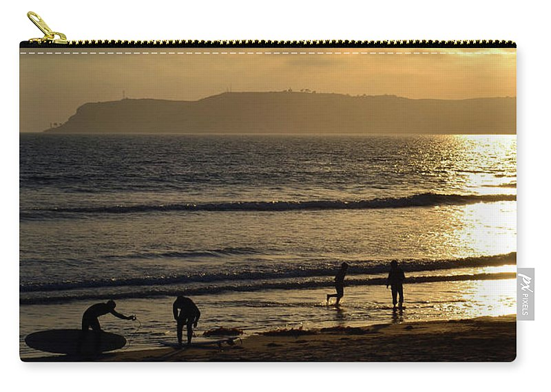 California Carry-all Pouch featuring the photograph Point Loma California Surfers by Katy Hawk