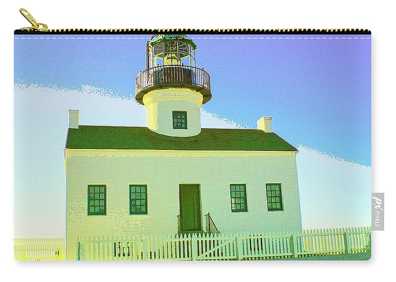 Point Loma Carry-all Pouch featuring the mixed media Point Loma Lighthouse by Dominic Piperata
