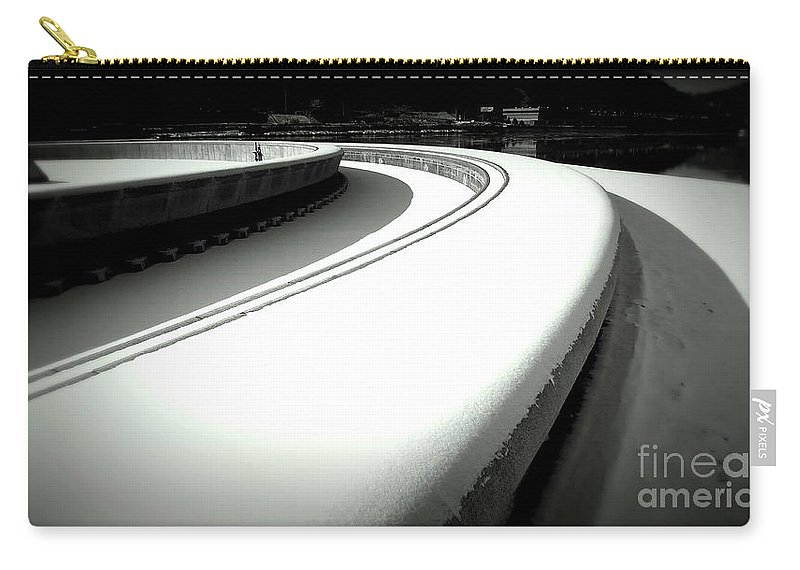 New Art New Photos Best Photography Cool Art Len Stanley Yesh Pittsburgh Photographer Pittsburgh Skyline Canvas Prints Carry-all Pouch featuring the photograph Point Park Fountain Winter, Pittsburgh Pa by Len-Stanley Yesh