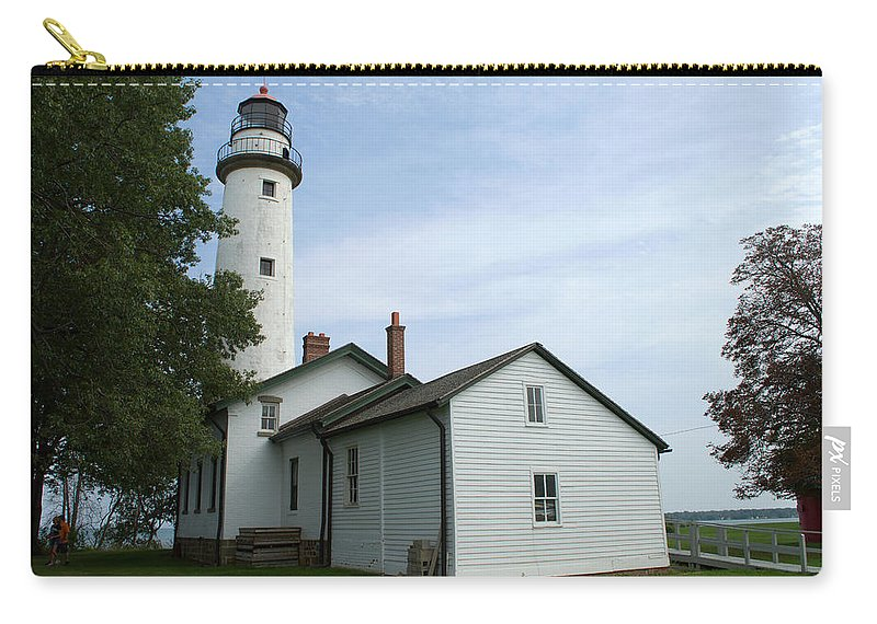 Pointe Aux Barques Lighthouse Carry-all Pouch featuring the photograph Pointe Aux Barques Lighthouse by Linda Kerkau