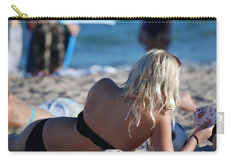 Cards Carry-all Pouch featuring the photograph Poker At The Beach by Rob Hans