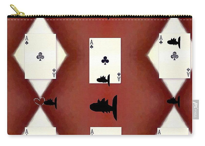 Card Carry-all Pouch featuring the mixed media Poker Sharks by Pepita Selles