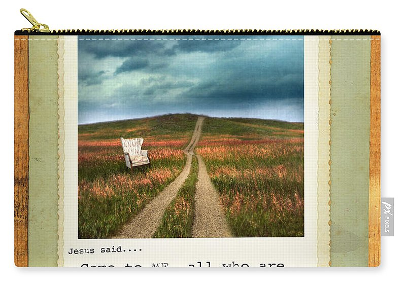 Weathered Carry-all Pouch featuring the photograph Polaroid On Weathered Wood With Bible Verse by Jill Battaglia