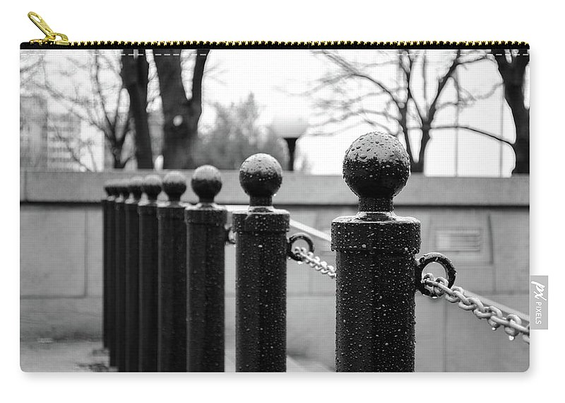 B&w Carry-all Pouch featuring the photograph Poles by Ivan Urbina