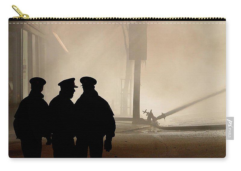Three Carry-all Pouch featuring the digital art Police Watching Firefighters During Moose Jaw New Years Fire by Mark Duffy