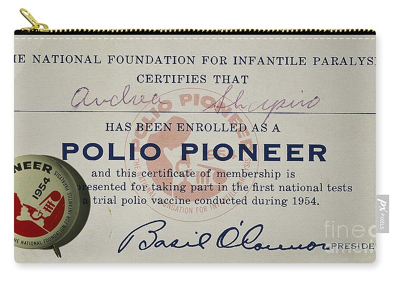 1954 Carry-all Pouch featuring the photograph Polio Certificate, 1954 by Granger