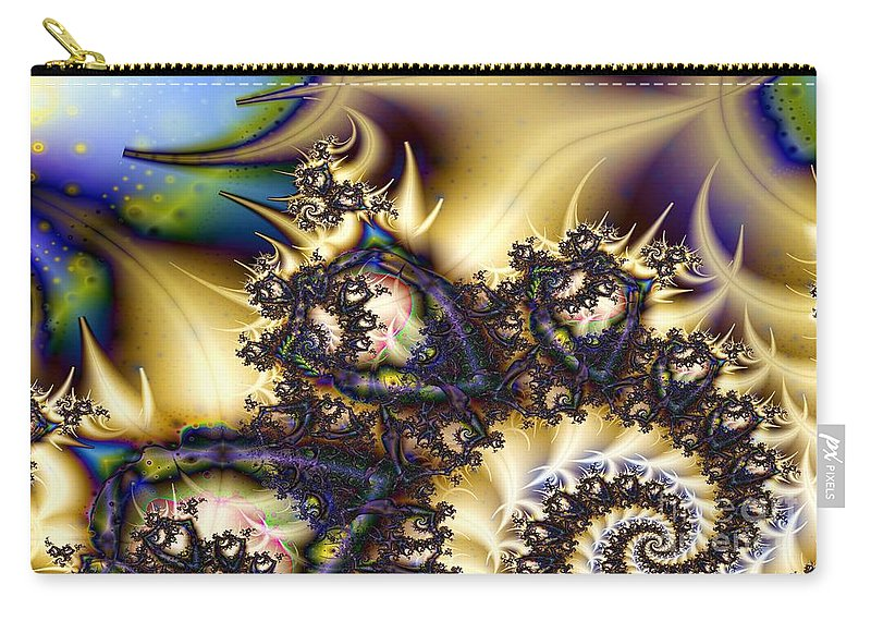Fractal Carry-all Pouch featuring the digital art Polka Dots In Sky Blue by Ron Bissett