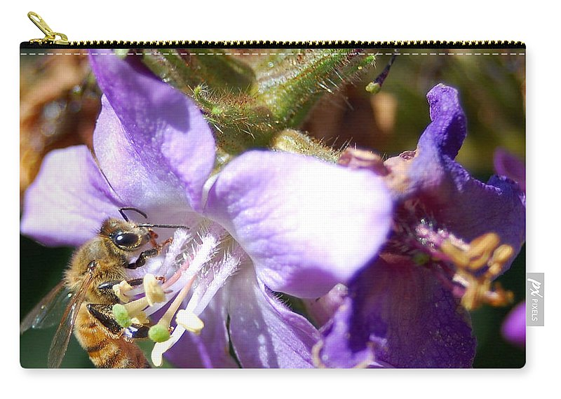 Bee Carry-all Pouch featuring the photograph Pollinating 1 by Amy Fose