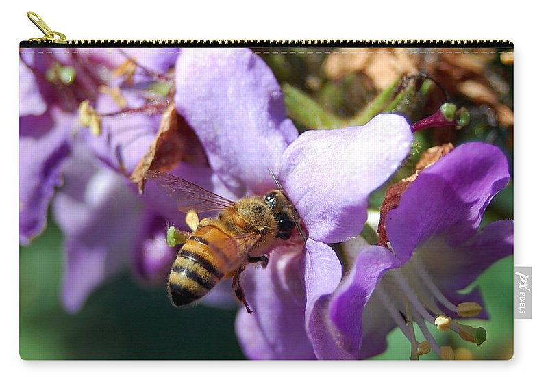Flower Carry-all Pouch featuring the photograph Pollinating 2 by Amy Fose