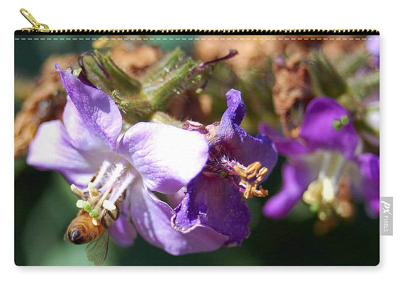 Bee Carry-all Pouch featuring the photograph Pollinating 3 by Amy Fose
