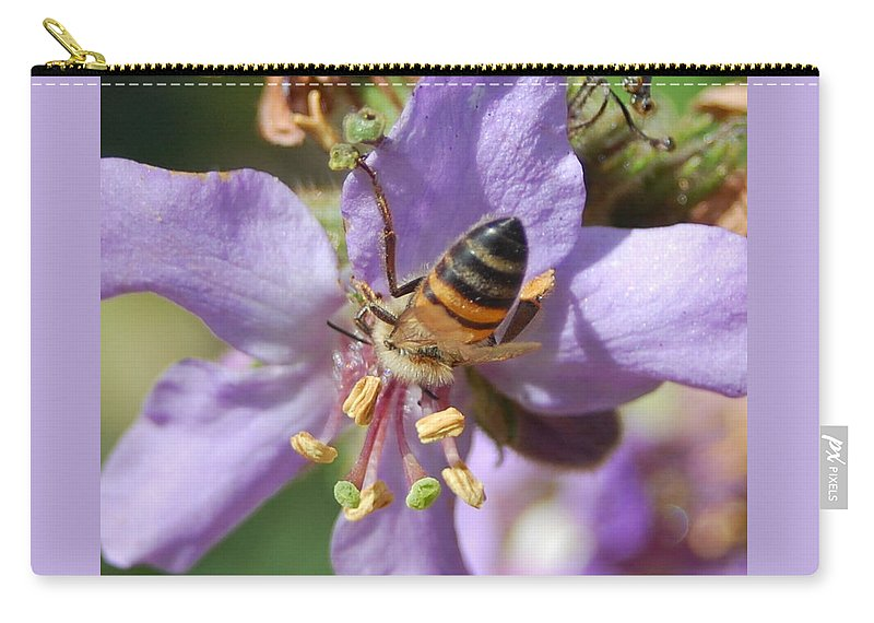 Bees Carry-all Pouch featuring the photograph Pollinating 4 by Amy Fose