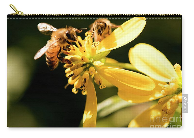 Yellow Flower Carry-all Pouch featuring the photograph Pollinating Bees by Michelle Himes