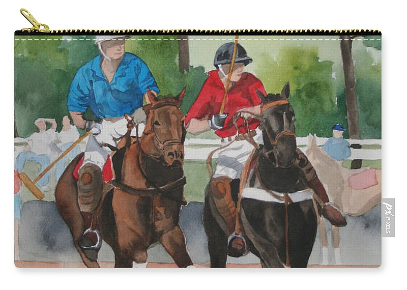 Polo Carry-all Pouch featuring the painting Polo In The Afternoon 2 by Jean Blackmer