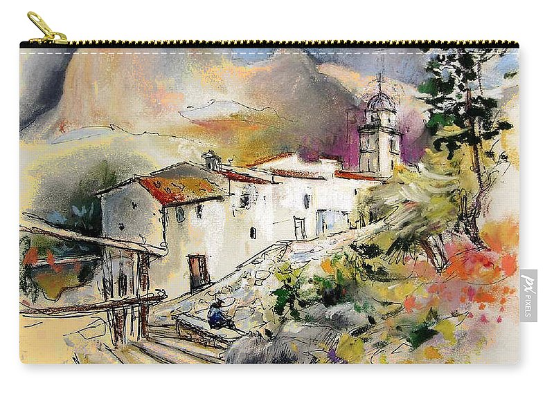 Pastel Painting Carry-all Pouch featuring the painting Polop De La Marina 01 by Miki De Goodaboom