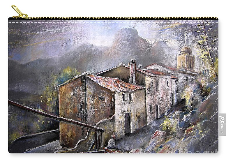 Pastel Painting Carry-all Pouch featuring the painting Polop De La Marina 03 by Miki De Goodaboom