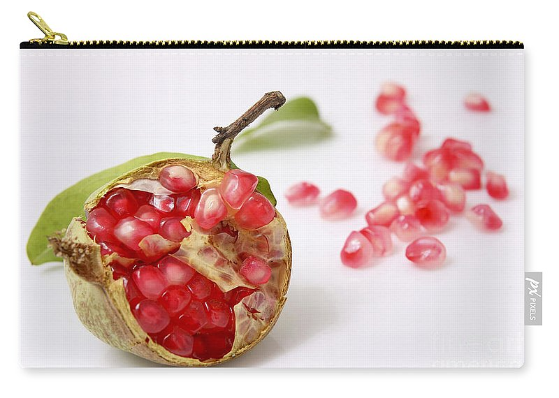 Pomegranate Carry-all Pouch featuring the photograph Pomegranate And Seeds by Yedidya yos mizrachi
