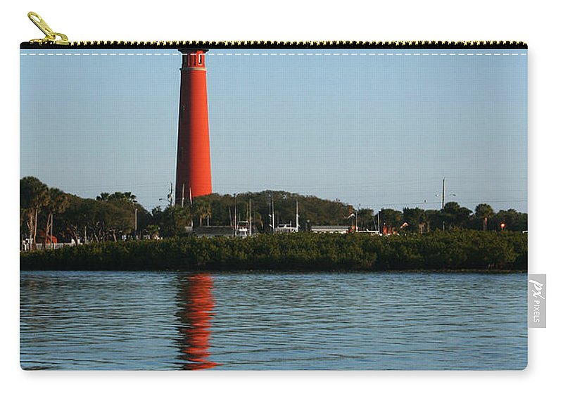 Lighthouse Tall Red Water Reflection Fl Sky Blue Wave Ripple Inlet Travel Tourist Vacation Carry-all Pouch featuring the photograph Ponce Inlet Lighthouse by Andrei Shliakhau