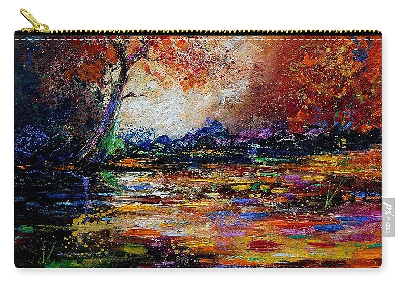 River Carry-all Pouch featuring the painting Pond 671254 by Pol Ledent