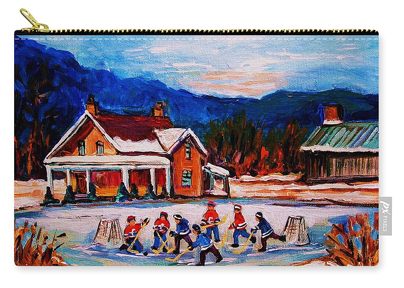 Hockey Carry-all Pouch featuring the painting Pond Hockey by Carole Spandau