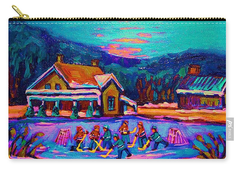 Pond Hockey Carry-all Pouch featuring the painting Pond Hockey Two by Carole Spandau