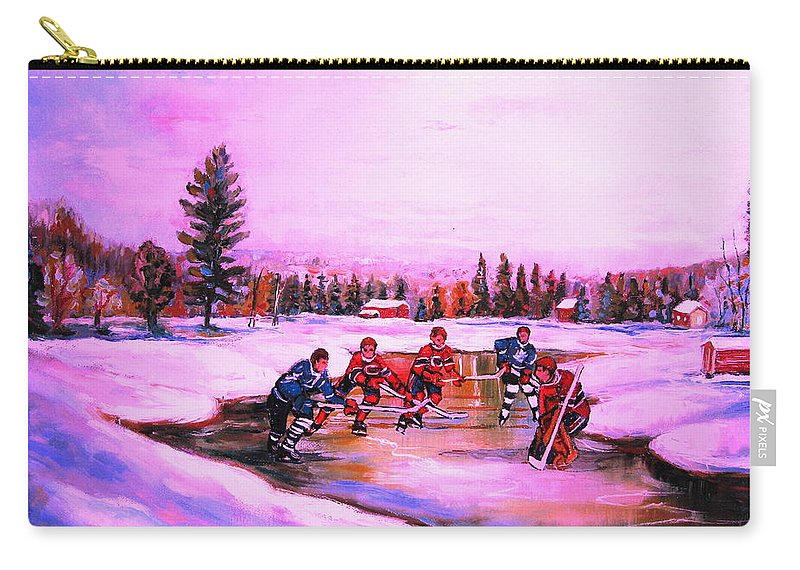 Hockey Carry-all Pouch featuring the painting Pond Hockey Warm Skies by Carole Spandau