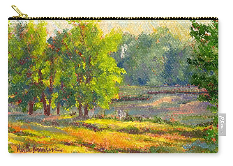 Impressionism Carry-all Pouch featuring the painting Pond In Morning Light by Keith Burgess