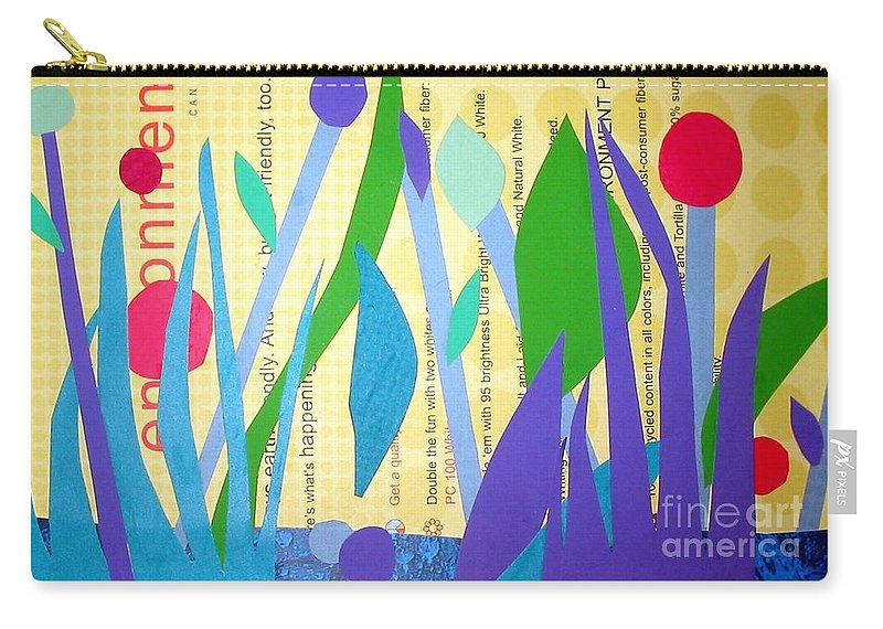 Landscape Carry-all Pouch featuring the mixed media Pond Life by Debra Bretton Robinson