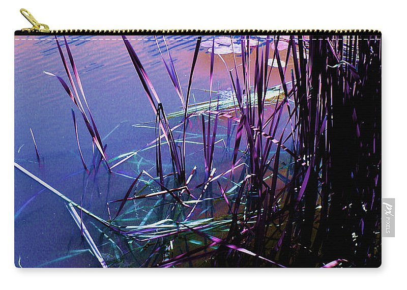 Reeds In Pond At Sunset Carry-all Pouch featuring the photograph Pond Reeds At Sunset by Joanne Smoley