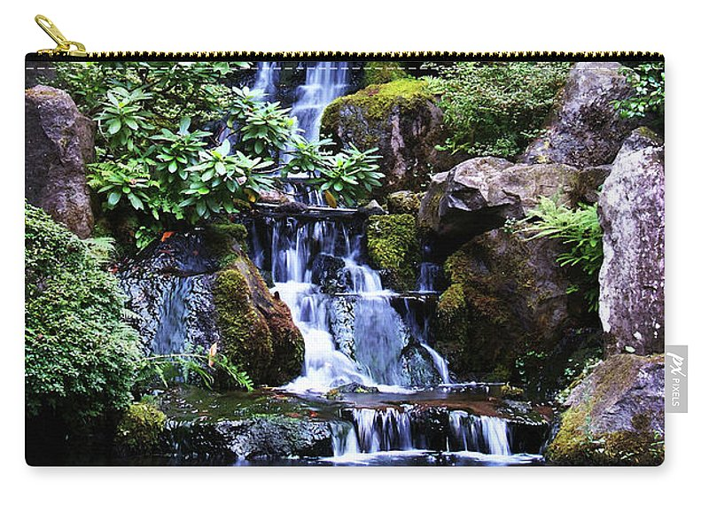 Zen Carry-all Pouch featuring the photograph Pond Waterfall by Anthony Jones