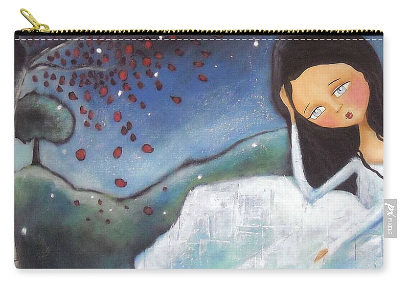 Girl Carry-all Pouch featuring the painting Pondering by Patti Ballard