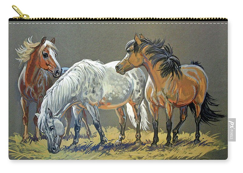 Jeanne Mellin Carry-all Pouch featuring the painting Ponies by Jeanne Mellin Herrick