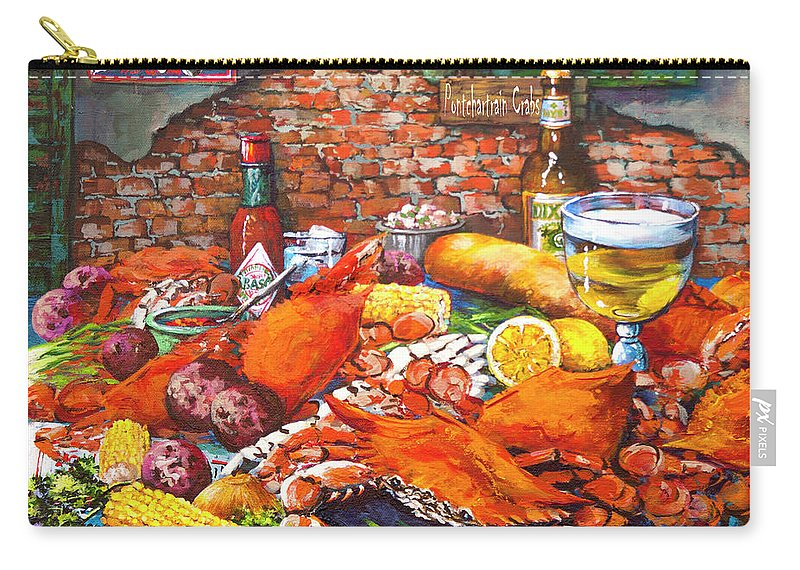 New Orleans Art Carry-all Pouch featuring the painting Pontchartrain Crabs by Dianne Parks