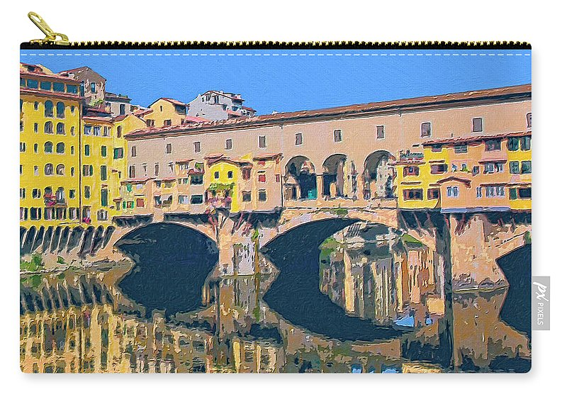 Ponte Vecchio Carry-all Pouch featuring the painting Ponte Vecchio Florence by Dominic Piperata