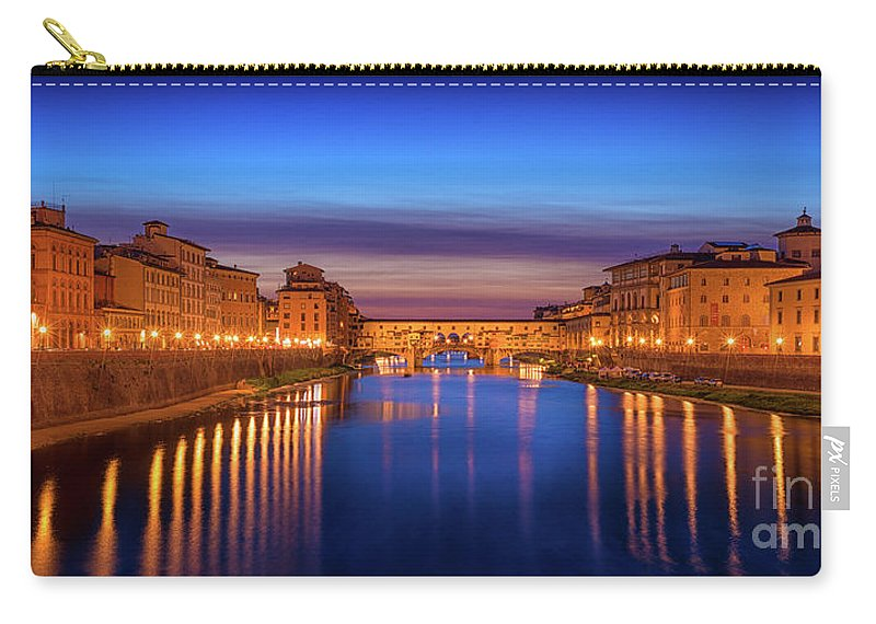 Italy Carry-all Pouch featuring the photograph Ponte Vecchio Nigth Panorama by Evgeni Nedelchev