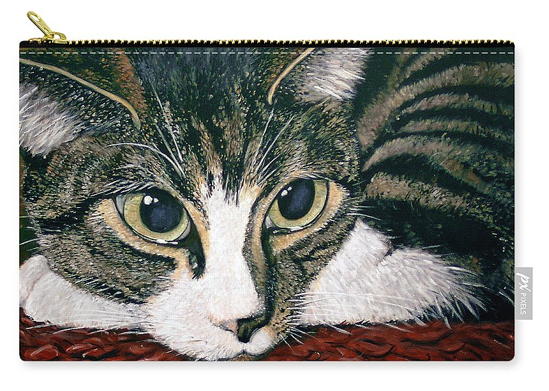 Cat Carry-all Pouch featuring the painting Pooky by Arie Van der Wijst