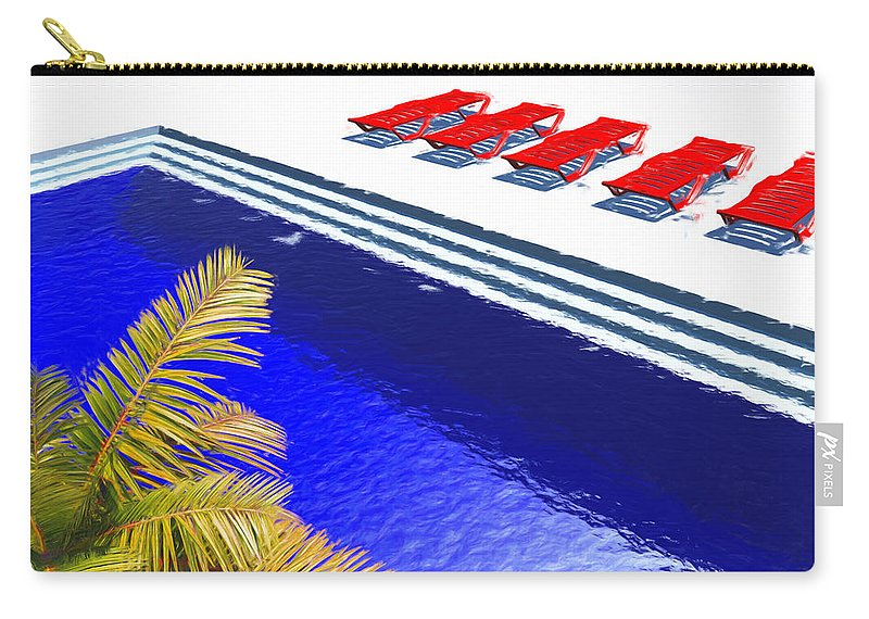 Pool Deck Carry-all Pouch featuring the digital art Pool Deck by Richard Rizzo