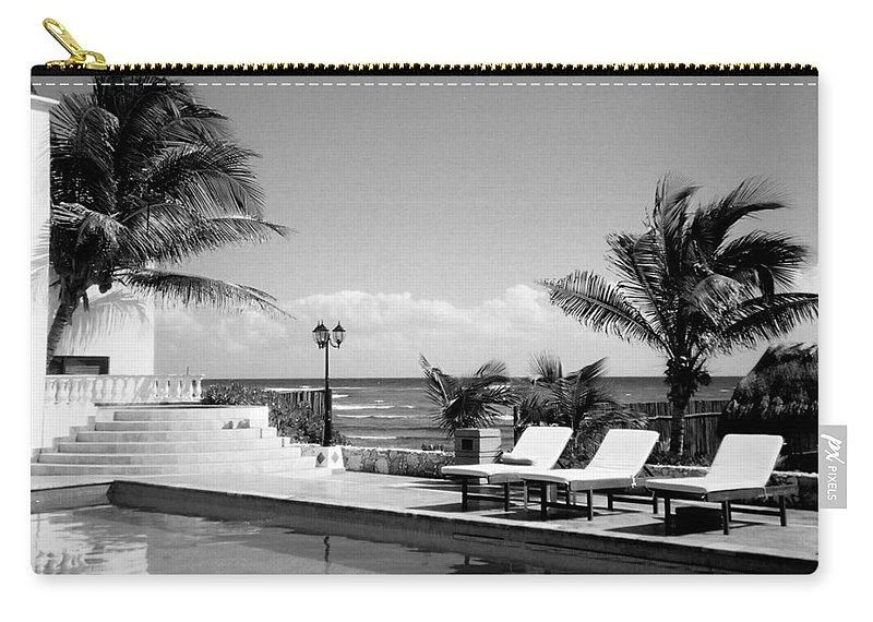 Swimming Pool Carry-all Pouch featuring the photograph Poolside B-w by Anita Burgermeister