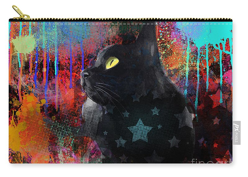Black Cat Carry-all Pouch featuring the painting Pop Art Black Cat Painting Print by Svetlana Novikova